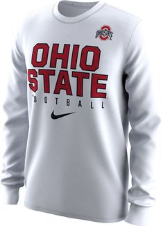 cdaf82cf80d3 Nike Men s Ohio State Buckeyes White Dri-FIT Practice Long Sleeve Shirt