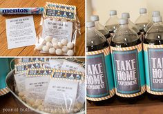 party favor idea for science birthday parties - take home an experiment and a link to experiments Mad Science Party, Mad Scientist Party, Science For Kids, Science Activities, 9th Birthday Parties, Birthday Party Favors, Boy Birthday, Birthday Ideas, Kid Parties