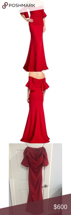 Elegant red Badgley Mischka gown Badgley Mischka crepe evening gown with ruching at side.Off-the-shoulder, sweetheart neckline.Short flutter sleeves.Trumpet silhouette.Floor sweeping hem. Shell and lining, polyester. This dress has been worn once and I have added a ribbon at the bottom back of the dress that can be tied together to pick up the back and make it easier to dance Badgley Mischka Dresses Strapless