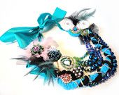 """Blues"" Couture https://www.etsy.com/listing/190557946/high-fashion-bib-necklace-rhinestone?ref=shop_home_active_4"
