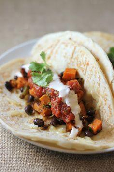 Roasted Sweet Potato and Black Bean Tacos - A Hint of Honey