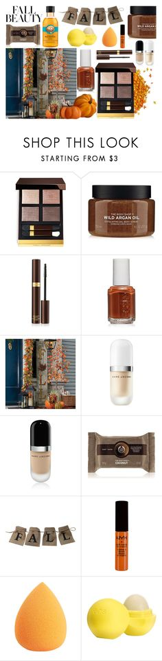 """""""Untitled #994"""" by helenaki65 ❤ liked on Polyvore featuring beauty, Tom Ford, Essie, Improvements, Marc Jacobs, The Body Shop, NYX and Eos"""
