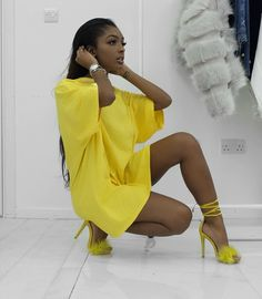 All yellow outfit Yellow Fashion, Black Girl Fashion, Fashion Looks, Girl Outfits, Cute Outfits, Fashion Outfits, Black Girls, Black Women, Mode Style