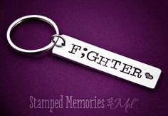 Fighter Semicolon Keychain  Hand Stamped by StampedMemoriesbyMel