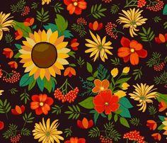 autumn flowers on dark brown large fabric by colorofmagic on Spoonflower - custom fabric Custom Fabric, Fabric Shop, Fall Flowers, Spoonflower, Surface Pattern, Emerald Green, Diy Projects, Autumn Flowers, Handyman Projects