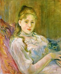 aurosanlo:    BERTHE MORISOT (1841-1895)  Young girl with a cat, 1892?