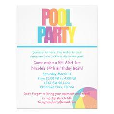 Pool Party Invitation Summer Birthday 13th Ideas Invitations