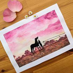 Peinture à l'aquarelle, silhouettes au coucher de soleil Pastel, Silhouettes, Creations, Frame, Home Decor, Sun, Drawing Drawing, Picture Frame, Cake