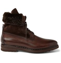 Santoni Shearling-Lined Leather Boots | MR PORTER