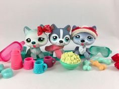 Littlest Pet Shop Trio of Husky Dogs #1563, #1617 & No # w/Lots of Accessories #Hasbro