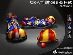 :)(: Clown Shoes & Hat - 3 Colors - Halloween shoes