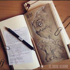 Kaiju sketch on Midori  japanese sketchbook #midori #journal #sketch #monster #kaiju