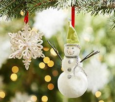 Glitter Snowman & Snowflake Ornaments #pbkids