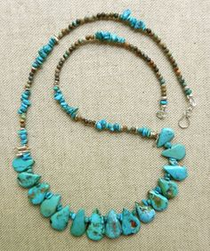OOAK Hand Made Necklace Of Bright Blue Arizona Turquoise Flat Teardrops, Tiny Nuggets & Rounds With Sterling Silver By Kathryne L Wright