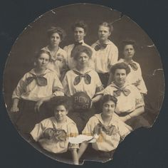 1906-1907 Women's Basketball Team at Pennsylvania Female College.    Chartered in Pittsburgh in 1869, the Pennsylvania Female College in 1890 changed its name to Pennsylvania College for Women, and in 1955 became Chatham College.