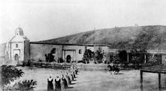 """""""Iglesia de Nuestra Señora La Reina de Los Angeles,"""" from Benjamin Hayes' diaries of the late the procession of the nuns painted in later. The actual name given to it by Franciscan priests Queen of the Angels California Missions, California History, Vintage California, Southern California, Olvera Street, Photo Record, San Luis Obispo County, San Fernando Valley, Echo Park"""