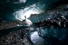 Eric Guth discovered a cave-entrance on the side of an Arctic glacier in Juneau, AK, and set out to explore it. He returned with a series of breathtaking photos of curvy, crystalline beauty.