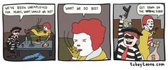Ronald does what he knows best  http://cheesypeasy.com/2014/07/09/ronald-knows-best/  #humor #comic #lol #lmao #funnypics