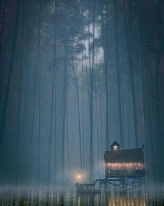 At Night Art by Guillaume Rajaona / Paris, France Scenery Paintings, Fantasy Paintings, Landscape Paintings, Fantasy Art, Digital Draw, Disney Animated Movies, My Fantasy World, Photos Of The Week, Beautiful Artwork