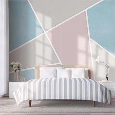 Bedroom Colors, Bedroom Decor, Wall Decor, Bedroom Wall Designs, Traditional Wallpaper, Wall Murals, Interior Design, Striped Walls Bedroom, Girl Bedroom Walls