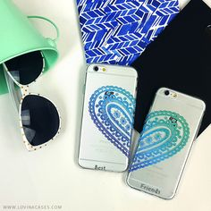Best Friends Paisley Heart Clear TPU Case Cover for iPhone and Galaxy