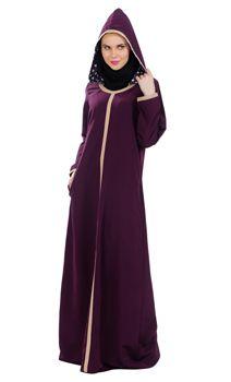 Sand And Purple Color Hooded Abaya Dress