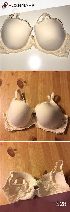 "VS   Angels Lined Demi 36C Super cute Victoria Secret line Demi ""Angels"" bra. Off white with lace detail. Size 36C. Good condition! Victoria's Secret Intimates & Sleepwear Bras"
