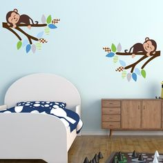 Cheeky Monkeys On Branches Wall Stickers, Monkey Wall Decals, Jungle Wall Art, Safari Wall Transfer - Full Colour Wall Stickers - FP012