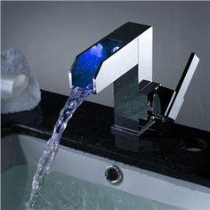 Zeitgenössische Farbwechsel Wasserfall Bad Wasserhahn (Verchromt)