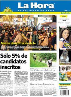 Los temas destacados en portada son: - Masiva demostración de fe. - Sólo el 5% de los candidatos están inscritos. - Las FARC ataca en la frontera...