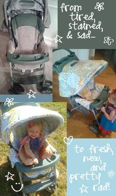 easy refresh for the stroller I love: make new cover & canopy using the old