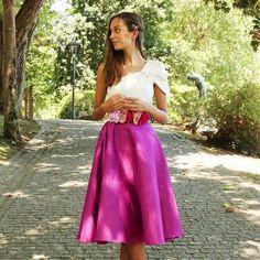 Falda Sauvage confeccionada en seda salvaje color malva en largo midi. Hecha a mano y a medida en Galicia - Aluèt