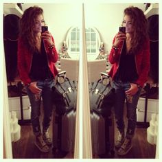 red blazer, rolled up jeans, high tops