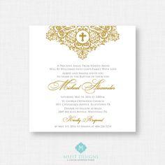 Printable Baptism Invitation- Gold Baptism Invitation - Baby Dedication, First Communion, Confirmation, Christening - Printable invitation by MsfitDesigns on Etsy