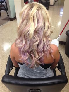 Pastel purple peek a boo hair color