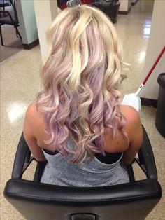Pastel purple peek a boo hair color