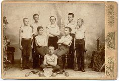 """Young Athletes, c. 1900, members of the Czech national gymnastic association """"Sokol"""" (The falcon) 