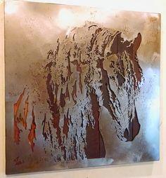 Friesian Stallion - Metal Art - Reclaimed Wood and Aged Steel - 30x30 - by Legendary Fine Art by LegendaryFineArt on Etsy