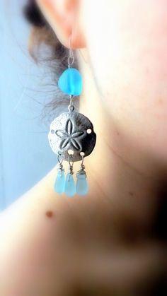 Aqua Sea Glass Earrings Sand Dollar dangles Sterling by lyrisgems, $25.00