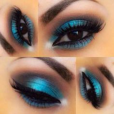 Peacock inspired dramatic eye makeup ideas If you want to try a different eye makeup look, maybe you can skip your usual smoky eye makeup, and . Blue Eyeshadow For Brown Eyes, Makeup For Brown Eyes, Eyeshadow Looks, Eyeshadow Makeup, Eyeshadows, Teal Eyeshadow, Dark Brown Eyes, Dramatic Eye Makeup, Formal Makeup