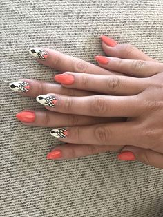 Stiletto Peach Tribal acrylic nails. Are you looking for peach acrylic nails design? See our collection full of peach acrylic nails designs and get inspired!
