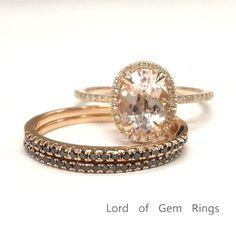 $879 Oval Morganite Engagement Ring Trio Sets Pave Black Diamond Bands 14K Rose Gold 7x9mm