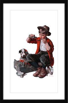 Marmont Hill Sick Puppy - Framed Print Norman Rockwell Painting Print in Frame