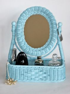 wicker mirrors   wicker vanity mirror and tray by olliesfinethings on Etsy
