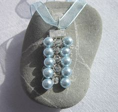 Pale blue  silver beaded knitted necklace, summer, wedding £6.50