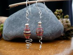 Wire Wrapped Earrings  Handmade Paper Bead by LoveCraftingForYou, $8.00