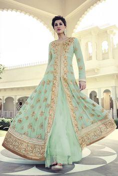 Nargis Fakhri Light Green Georgette Designer Anarkali Suit 61848