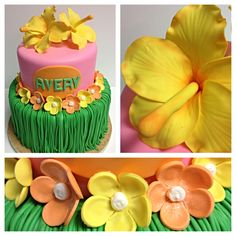 Hawaiian themed birthday cake with gum paste hibiscus and plumeria flowers. Luau Birthday, Themed Birthday Cakes, Happy Birthday, Caramel Icing, Plumeria Flowers, Luau Party, Savoury Cake, Flower Tutorial, Gum Paste