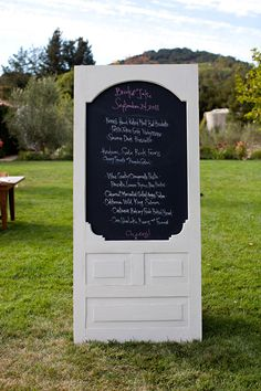 Ahhhh ~ a new wedding menu idea! A chalkboard + old door = Love it! Photography by What Shanni Saw