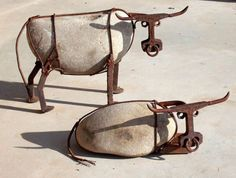 Thumbnail for 3399 Cattle made from river rock, railroad spikes, railroad track, steel wire, and nuts by artist John...…